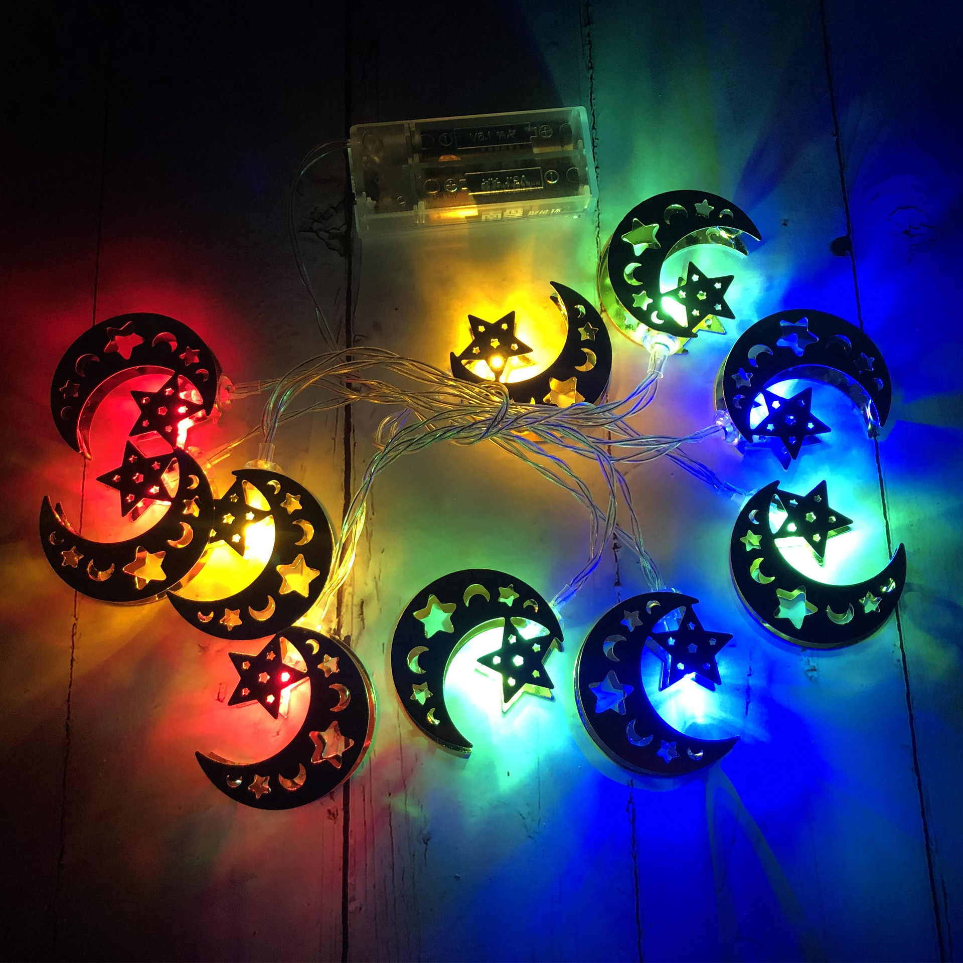 LED Iron Art Light Strings Muslim Ramadan Festival Star Moon Shape Decoration Hang Pendant colors