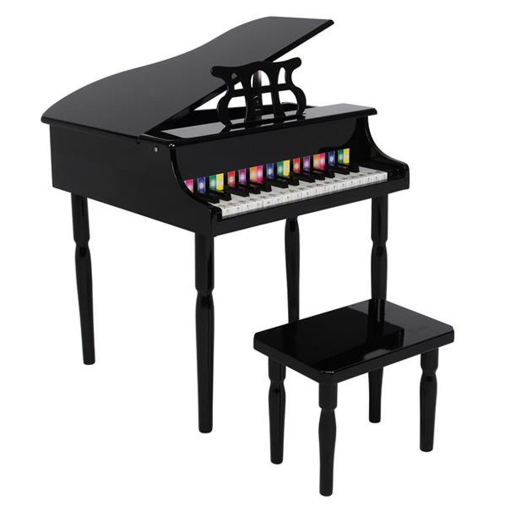 [US Direct] Children 30-key Wooden  Piano With Music Stand Mechanical Sound Mdf Wooden 4feet Piano Toys For Kid black