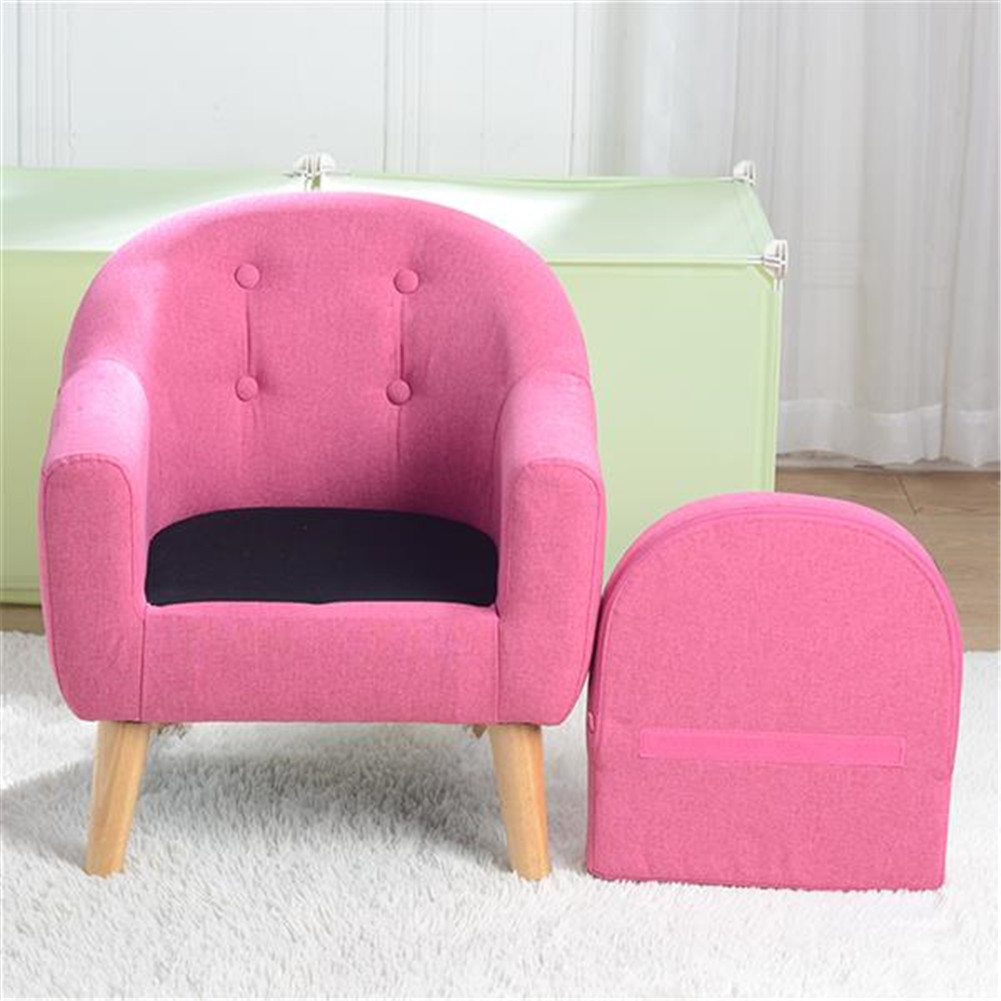 [US Direct] Children  Sofa For Single Children With Detachable Cushion Household Furniture For Living Room rose Red