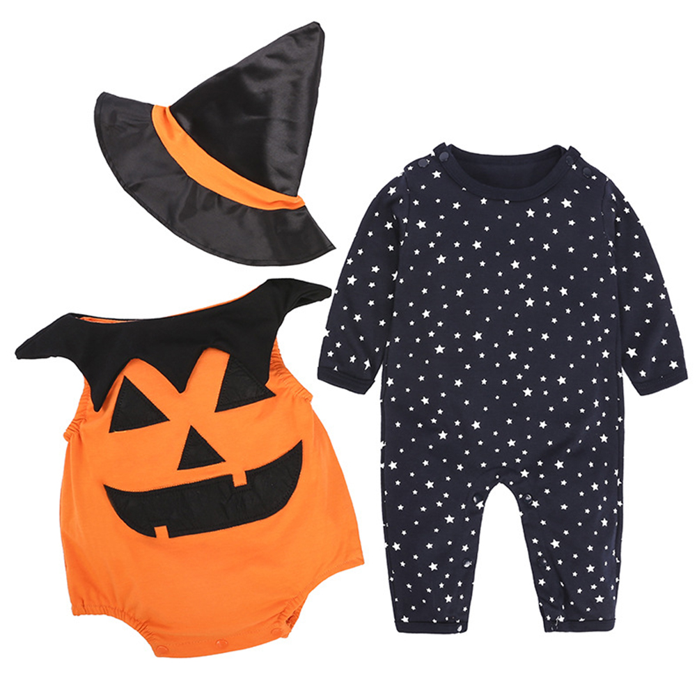3PCS Children's Halloween Performance Costume Baby Pumpkin Jumpsuit + Hat  black_90