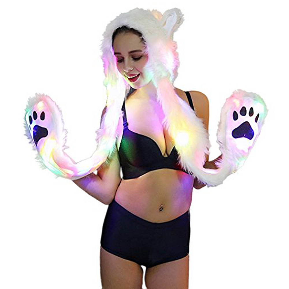 Women Creative LED Luminous Soft Faux Hair Hat with Warm Scarf