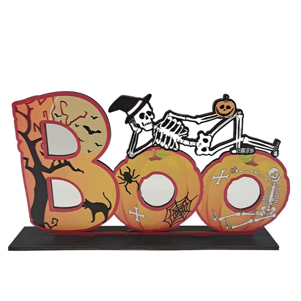 Wooden  Pendant Halloween Pumpkin Skull Spider Bat Party Scene Decorative Ornaments No. 18 27*16CM weighs 85 grams