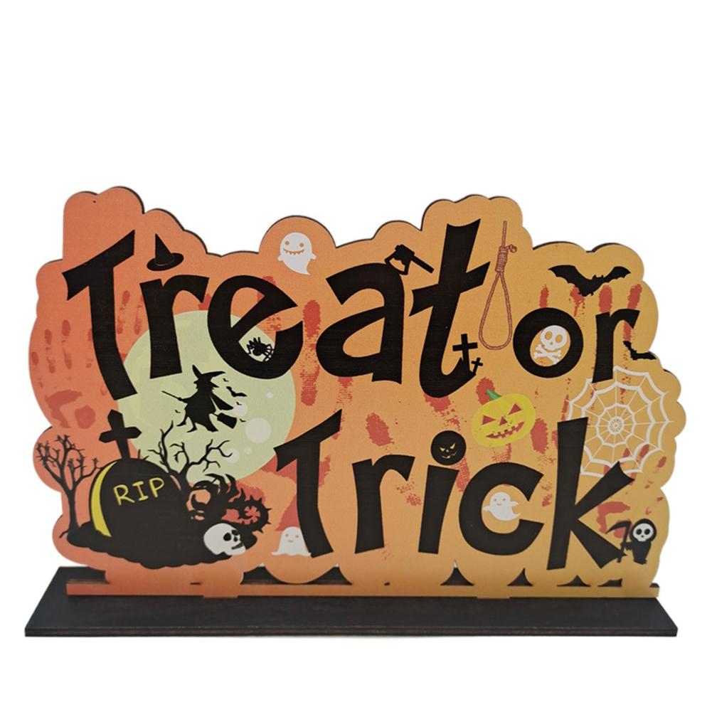 Wooden  Pendant Halloween Pumpkin Skull Spider Bat Party Scene Decorative Ornaments No. 27 27*18CM weighs 101 grams