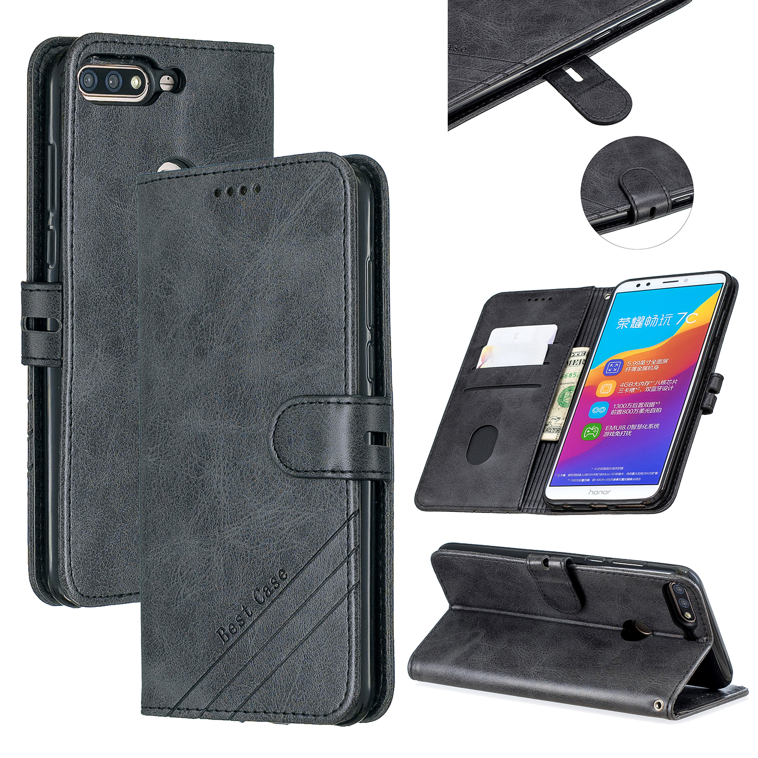 For HUAWEI Honor 7C-Enjoy 8-Y7 2018-Y7 Pro 2018 Denim Pattern Solid Color Flip Wallet PU Leather Protective Phone Case with Buckle & Bracket black