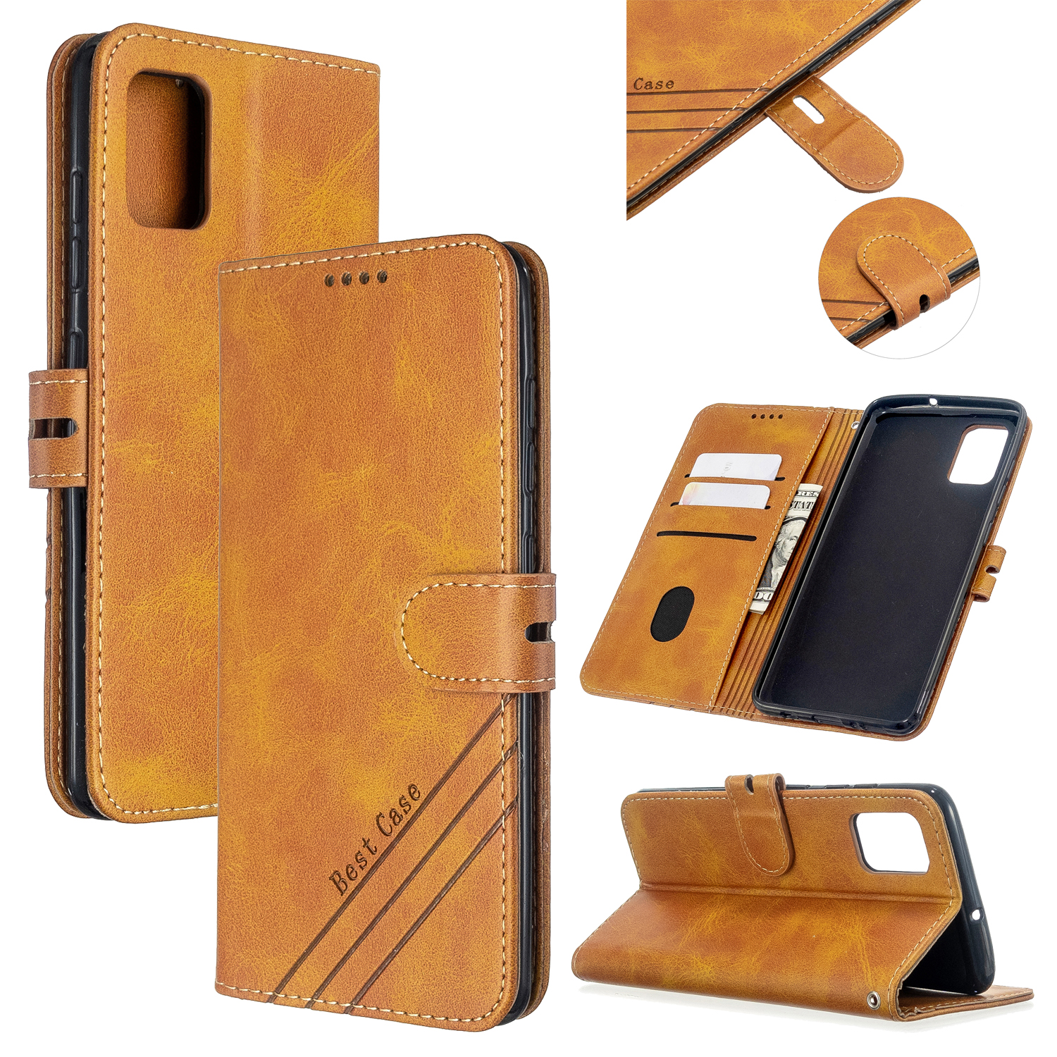 For Samsung A51/A71/M30S Case Soft Leather Cover with Denim Texture Precise Cutouts Wallet Design Buckle Closure Smartphone Shell  yellow