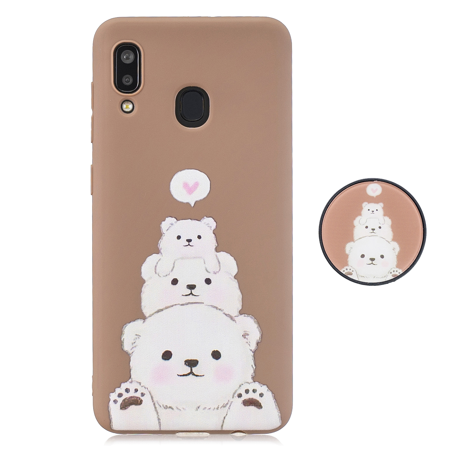 For Samsung A30 A20 TPU Full Cover Cartoon Pattern Solid Color Protective Phone Case with Adjustable Bracket 3