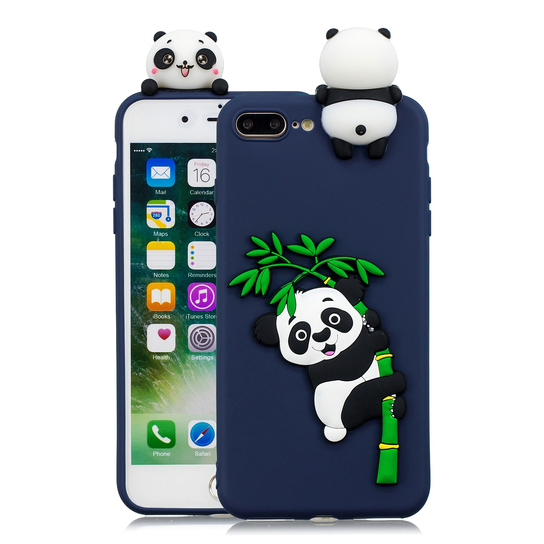 For iPhone 5/5S/SE/6/6S/6 Plus/6S Plus/7/8/7 Plus/8 Plus Phone Case 3D Cartoon Panda Bamboo Cellphone Back Shell Shockproof Smartphone Cover Royal blue