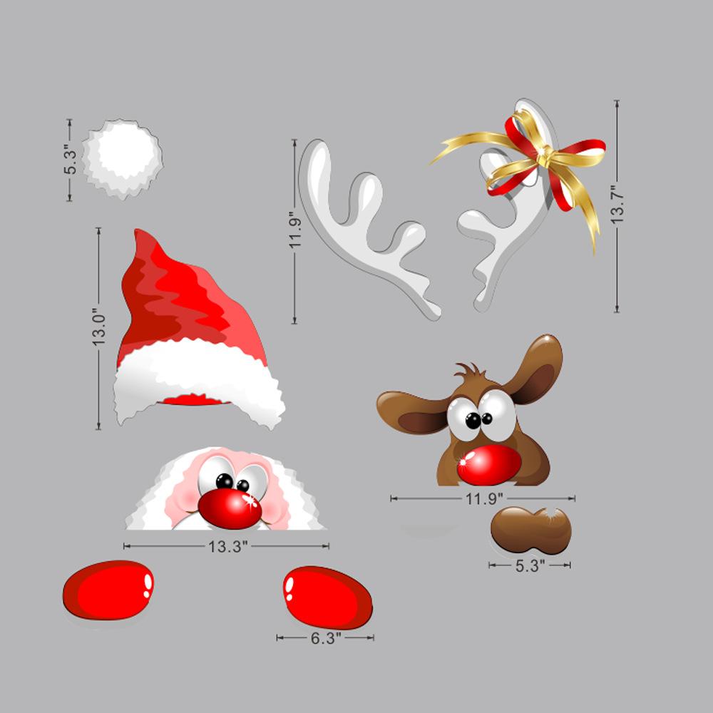 Santa Claus Elk Christmas Door  Stickers Holiday Decoration Window Glass Garage Door Wall Stickers X010 large