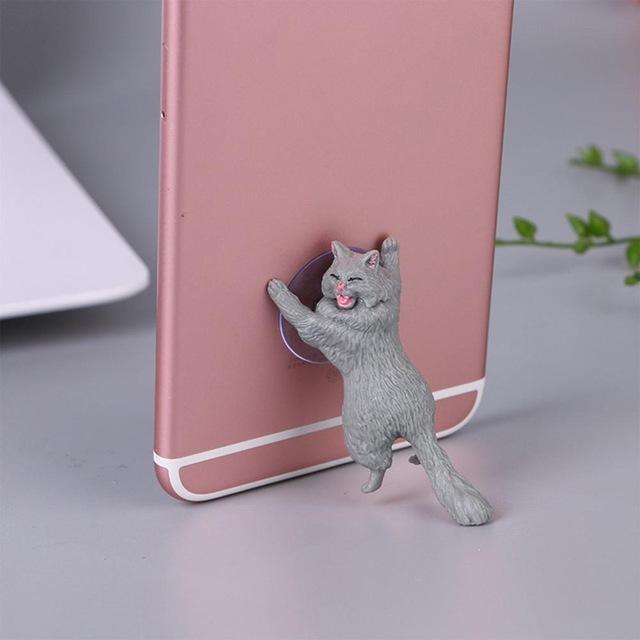 Cute Cartoon Cat Phone Holder Car Mount Sucker Bracket Universal for Sumsung Huawei LG iPhone X XS 8 7 6 gray