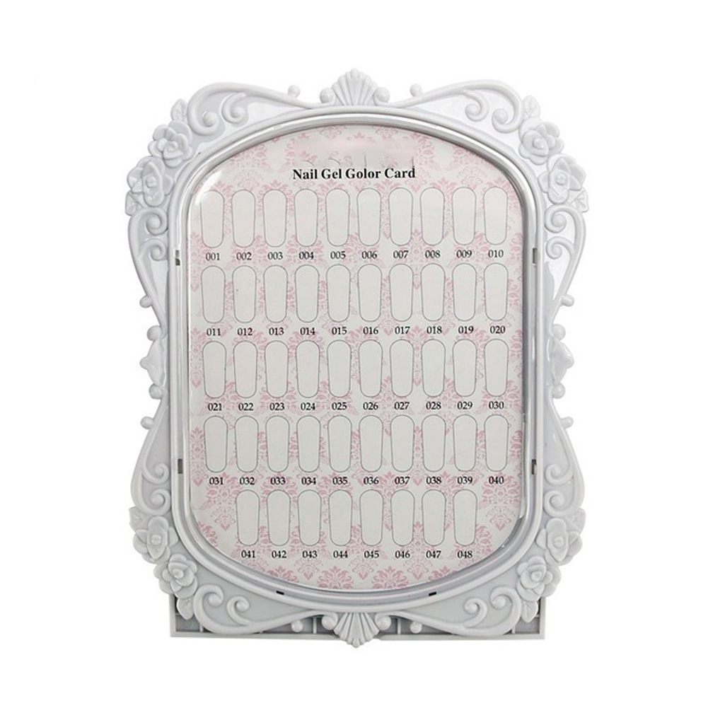 48 Colors Cards Nail Art Tip Chart Display Rack Pictur Frame Shape Polish Palette Stand Showing  white