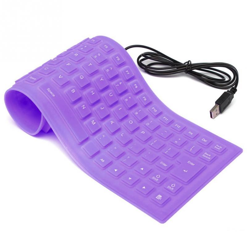 Portable Flexible Silicone Keyboard Foldable Waterproof Dustproof USB Silent Keyboard for Laptop Notebook  purple