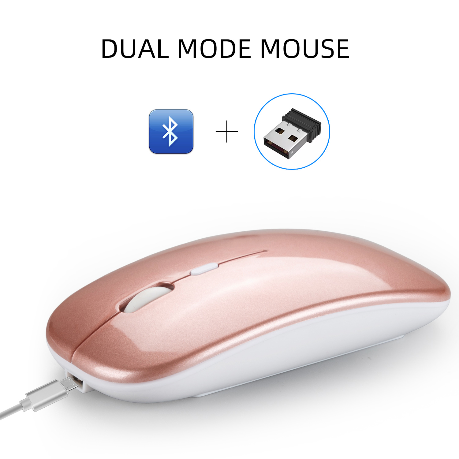 Dual Mode Bluetooth 4.0 + 2.4G Wireless Mute Computer Mouse for PC Laptop Rose gold