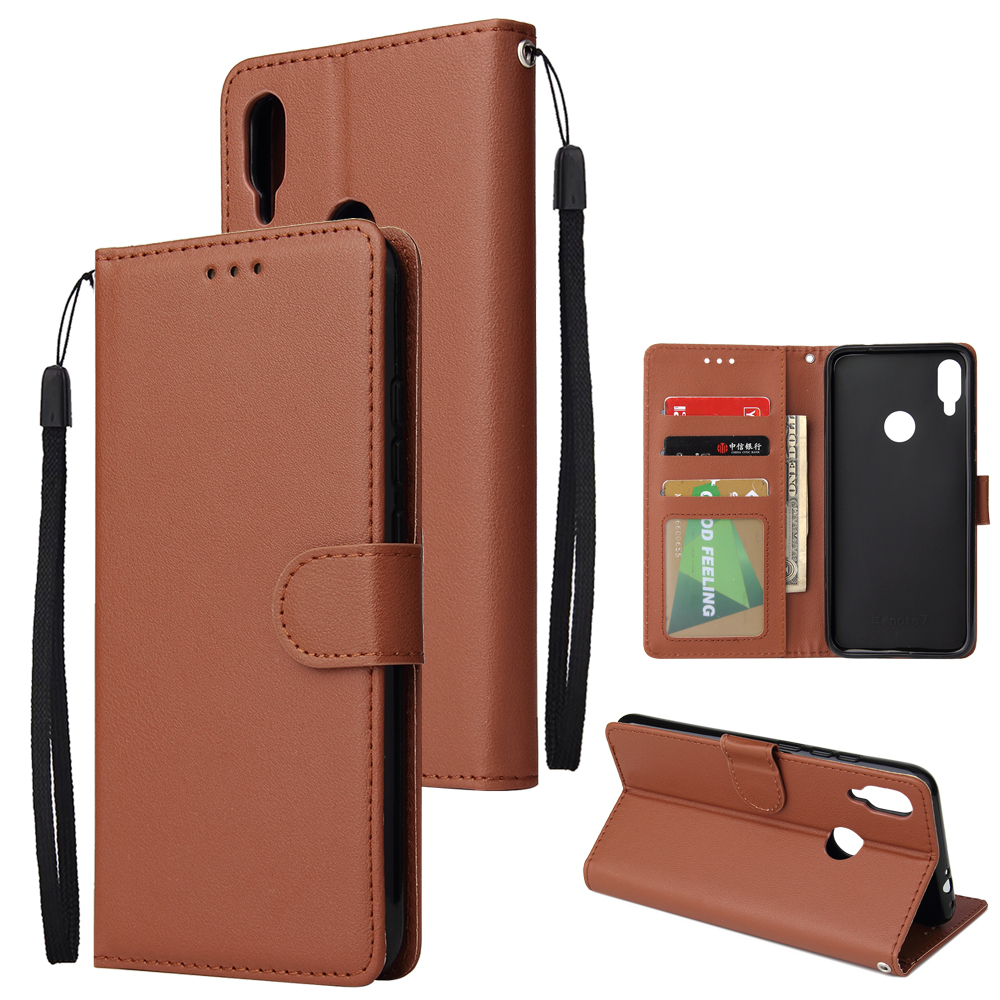 For Redmi note 7/Redmi note 7pro Flip-type Leather Protective Phone Case with 3 Card Position Buckle Design Phone Cover  brown