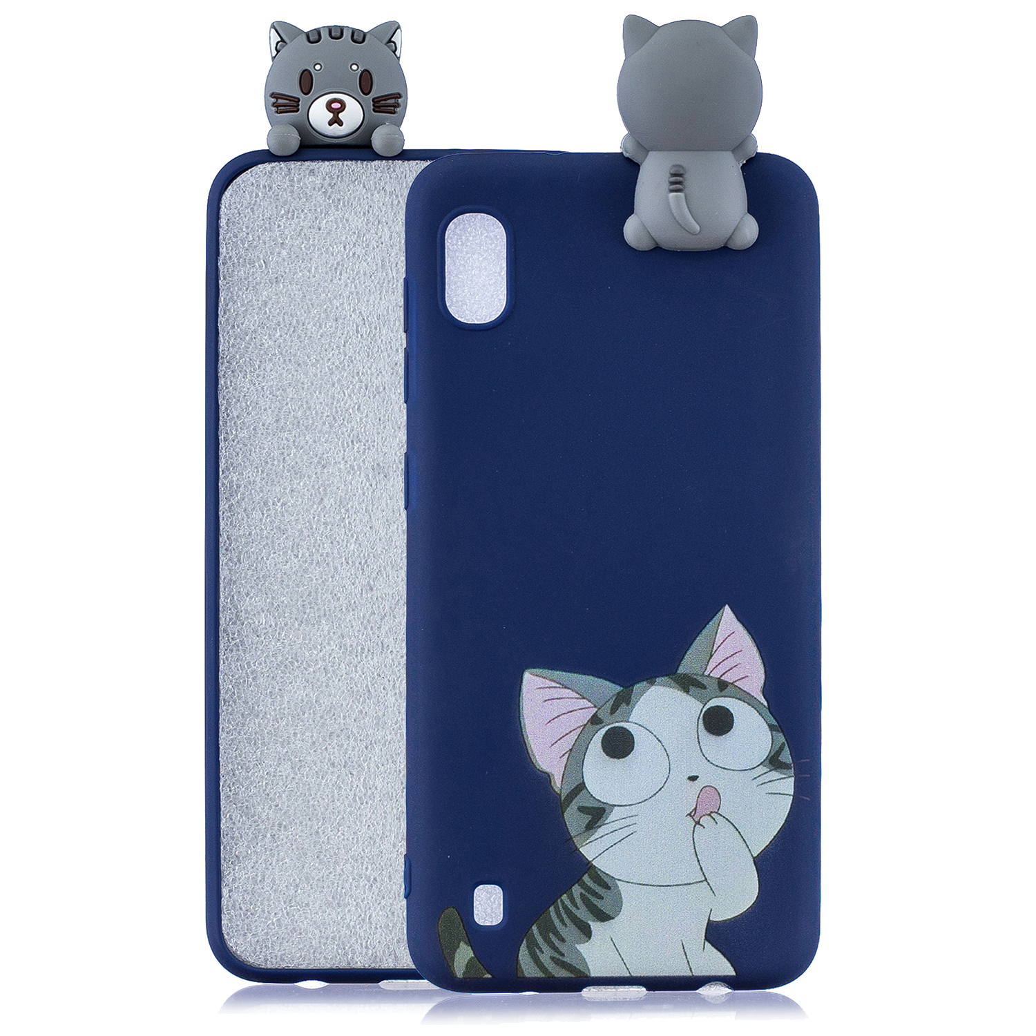 For Samsung A01 Soft TPU Case Back Cover 3D Cartoon Painting Mobile Phone Shell big face cat