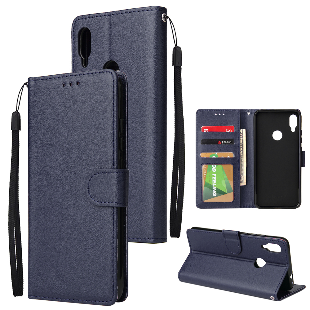 For Redmi note 7/Redmi note 7pro Flip-type Leather Protective Phone Case with 3 Card Position Buckle Design Phone Cover  blue