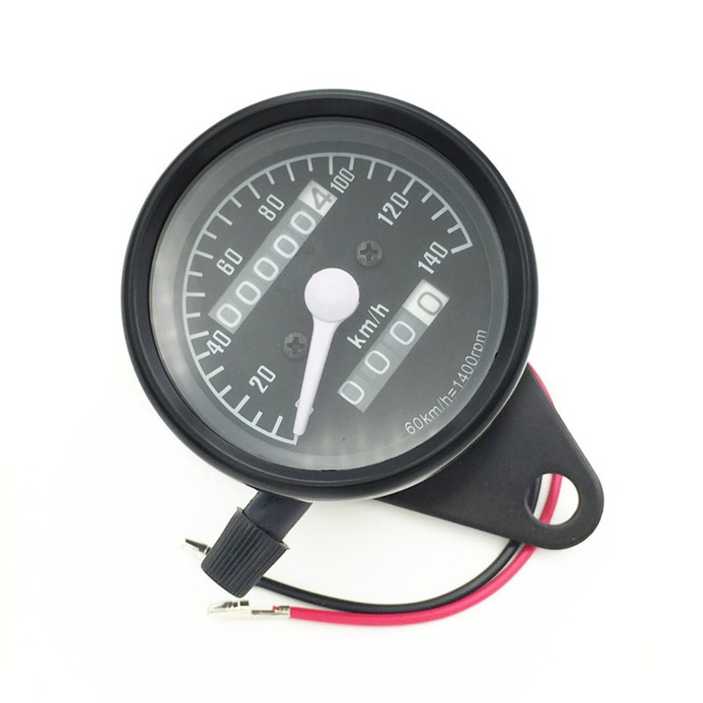 Unviersal 12V Retro Motorcycle Speedometer Tachometer Led Motorbike Odometer Double Meter Odometer Dashboard black