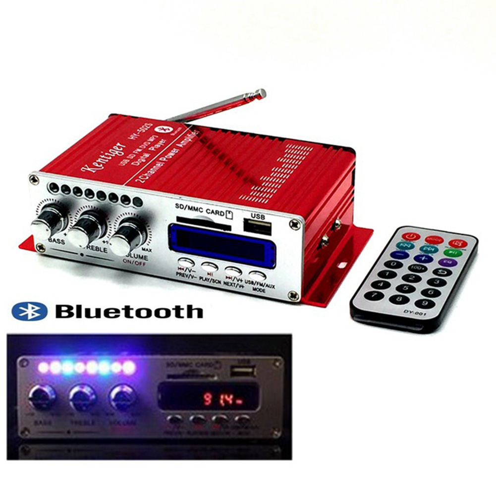 502S Mini Bluetooth Amplifier Remote Control USB/SD Card Player FM Radio Power Amplifier 12V red Bluetooth power amplifier