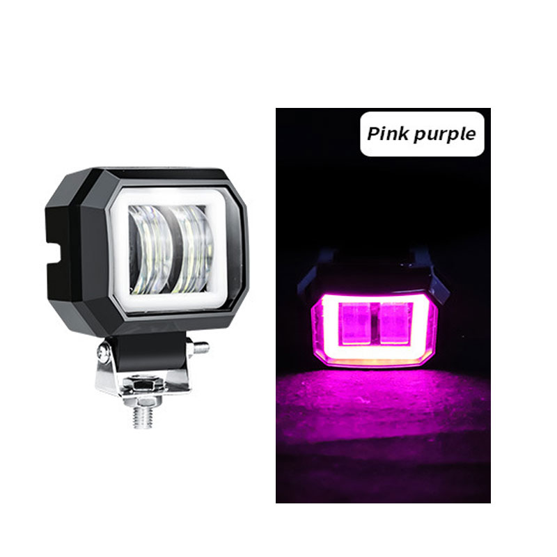 2 Pack3 Inch 20w Offroad Led Work Light Waterproof 12v 24v Suv Atv Truck Motor Headlights 4x4 Car Led Pink Purple Circle