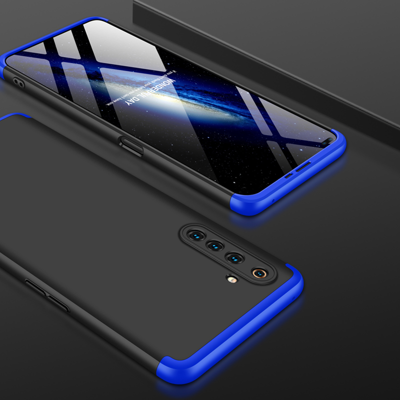 For OPPO Realme 6 Pro Cellphone Case PC Full Protection Anti-Scratch Mobile Phone Shell Cover Blue + black