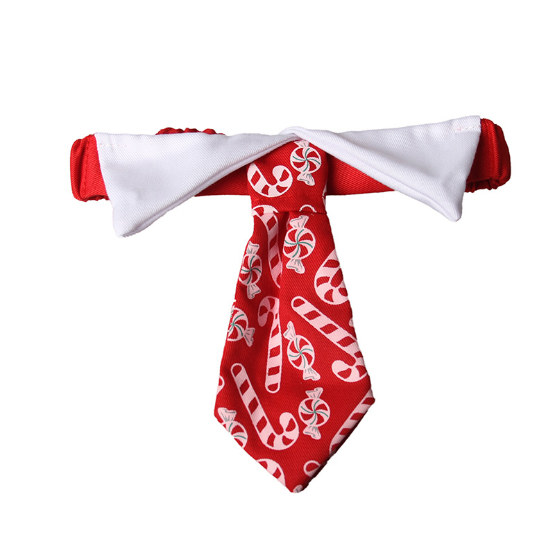 Woven Fabric Candy Printed Cat Dog Festive Lunar New Year Pet Red Tie Red candy_L code tie