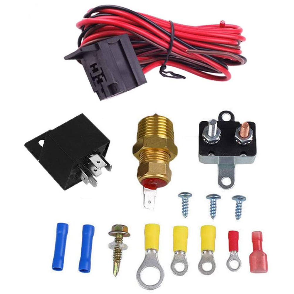 15pcs Car Electric Cooling Fan Thermostat Kit Temp Sensor Temperature Switch 12V 50A 5-pin RELAY KIT  5-pin 200-185 switch