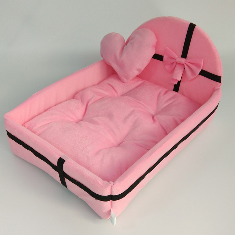 Winter Warm Pet Bed with Plush Cushion for Small Medium Dogs Pink_L