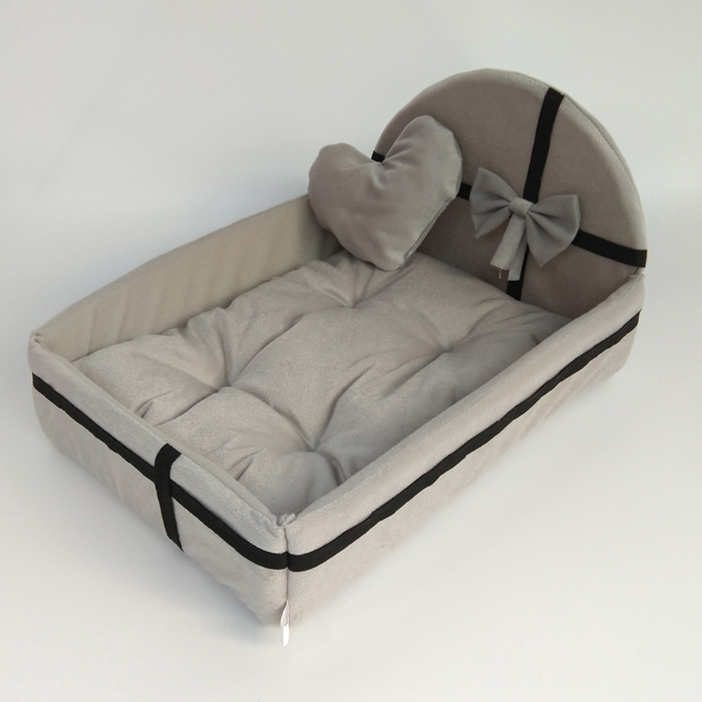 Winter Warm Pet Bed with Plush Cushion for Small Medium Dogs gray_M