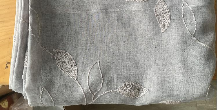 Haperlare 2PCS Linen Textured Translucent Sheer Tiers Embroidered Leaves Pattern Small Window Panel Drapes for Kitchen/Cafe