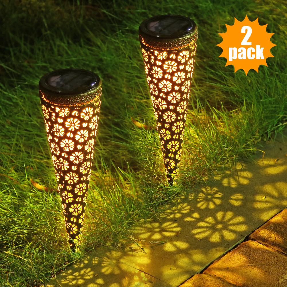Litake 4PACK Outdoor Solar LED Lights Rechargeable Lawn Garden Road Lamps Decorative Garden Spot Path Lights Set