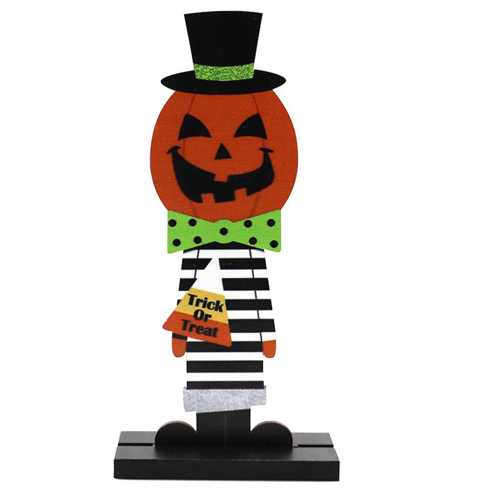 Wooden Decoration Halloween Pumpkin Man Witch Home Table Crafts JM02001