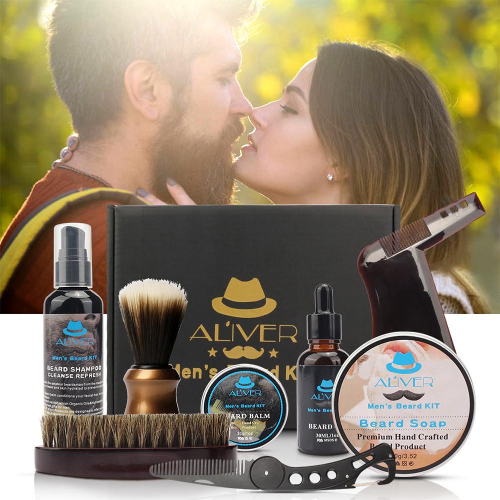 10Pcs/set Men Beard Kit Styling Tool Men Barba Kit Styling Tool Moustache Balm Moisturizing Wax Styling Beard Care Set 8-piece set