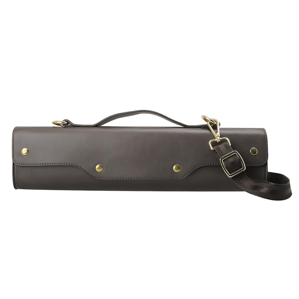 Water-resistant Flute Case Synthetic Leather Gig Bag Box for Western Concert Flute with Adjustable Shoulder Strap Brown
