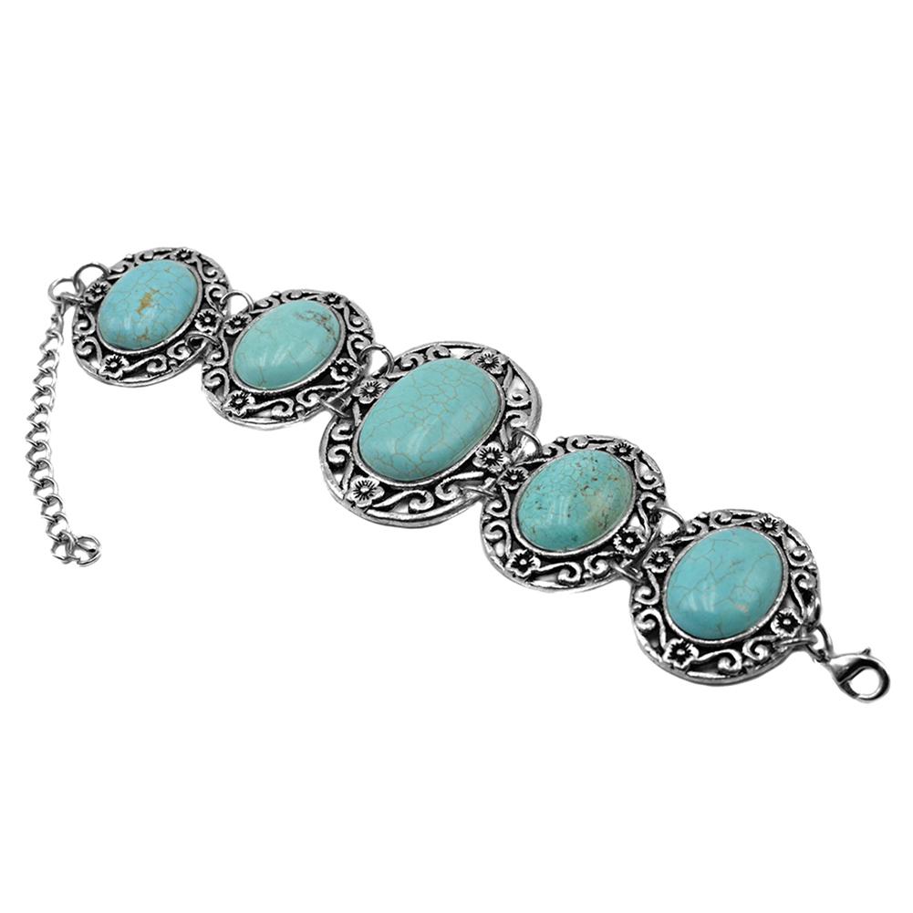 Vintage boho style oval turquoise alloy flower openwork bracelet