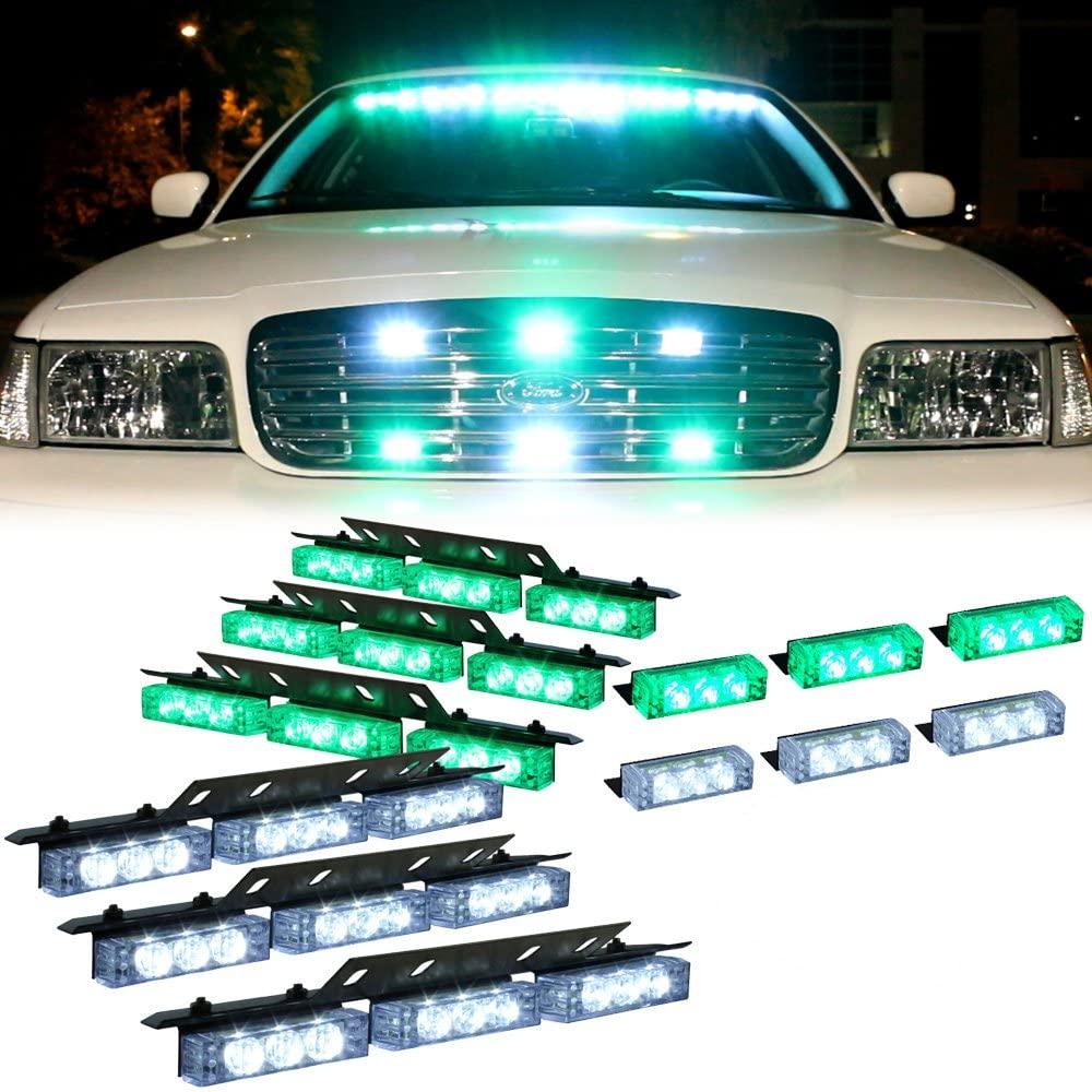Amber 54 Leds Grille Deck Visor Dash Emergency Strobe Lights For Truck Construction Security Vehicles 3 white lights 3 green lights