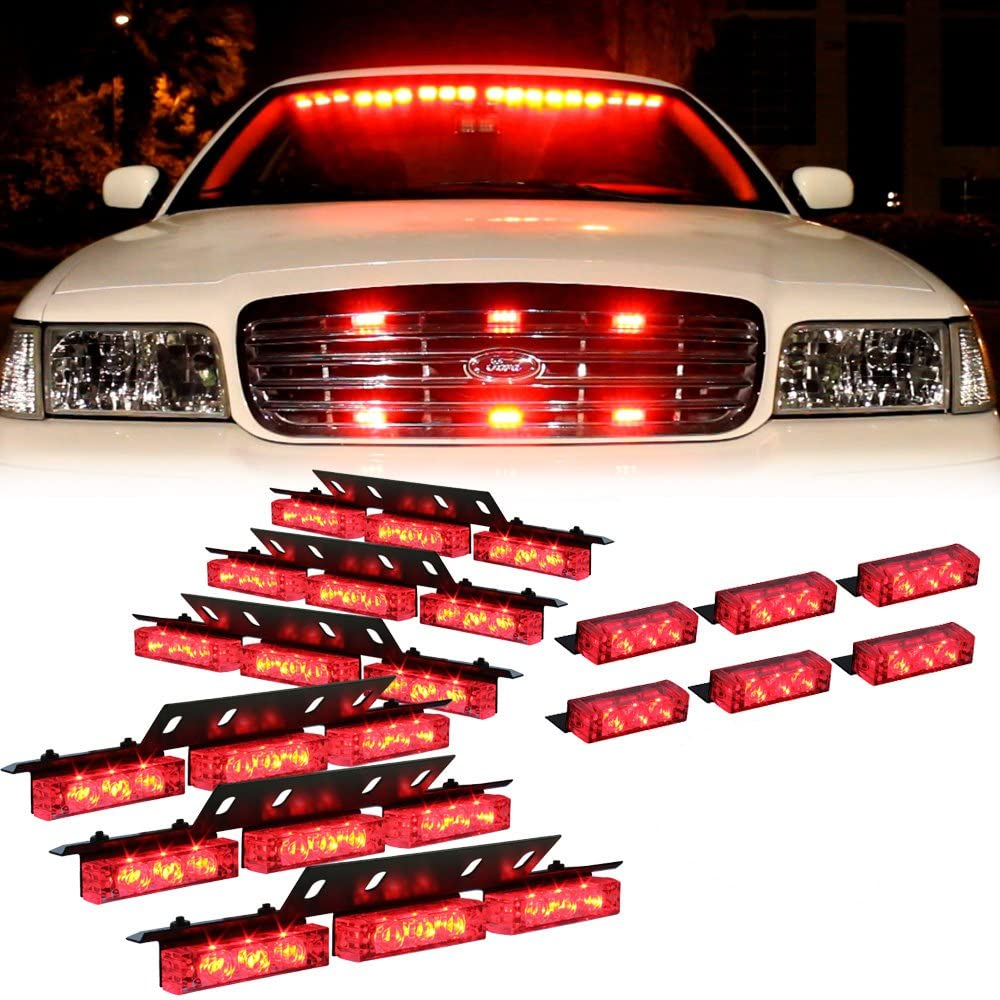 Amber 54 Leds Grille Deck Visor Dash Emergency Strobe Lights For Truck Construction Security Vehicles 6 red lights
