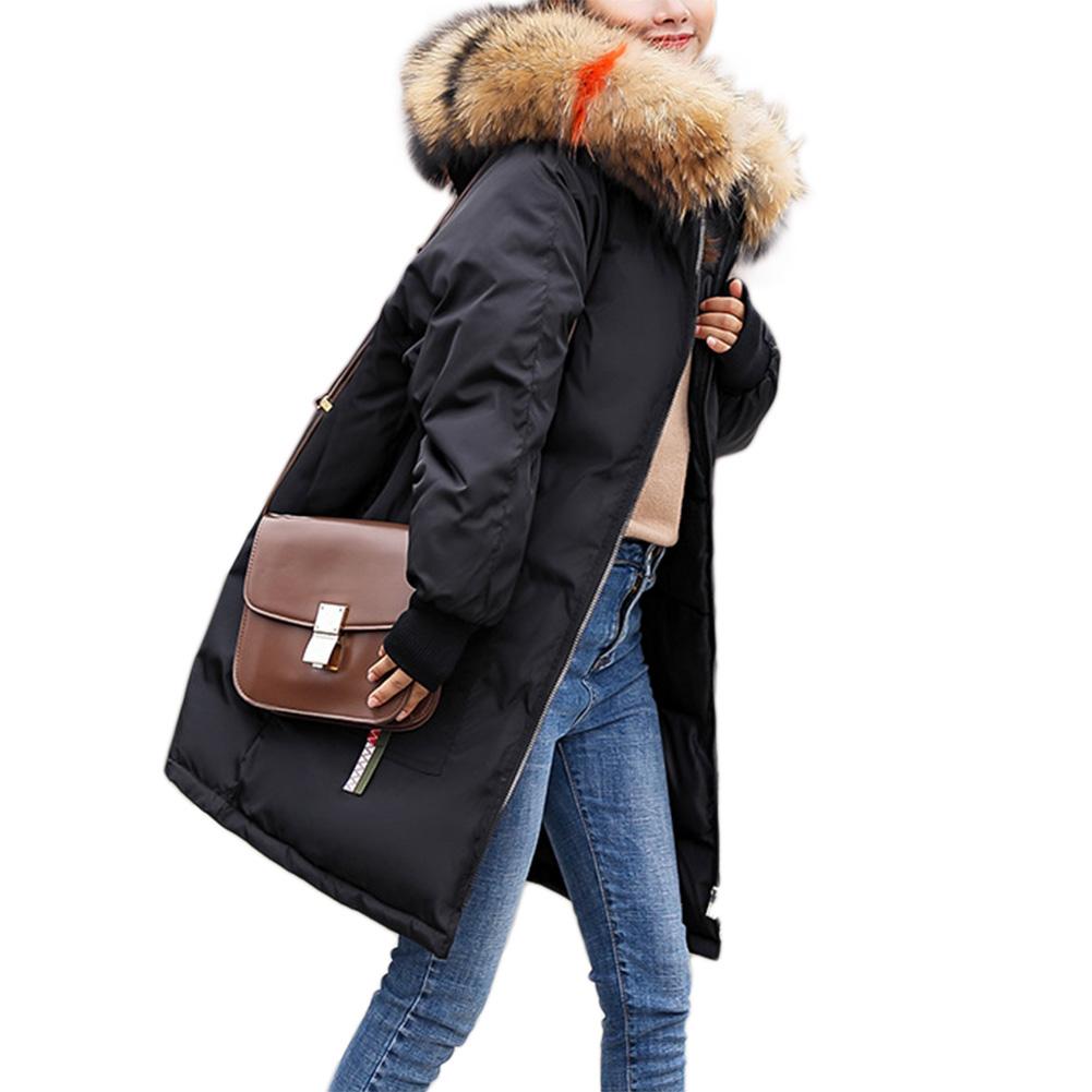 Women Warm Cotton Padded Jacket Fashionable Plush Collar Hooded Winter Coat