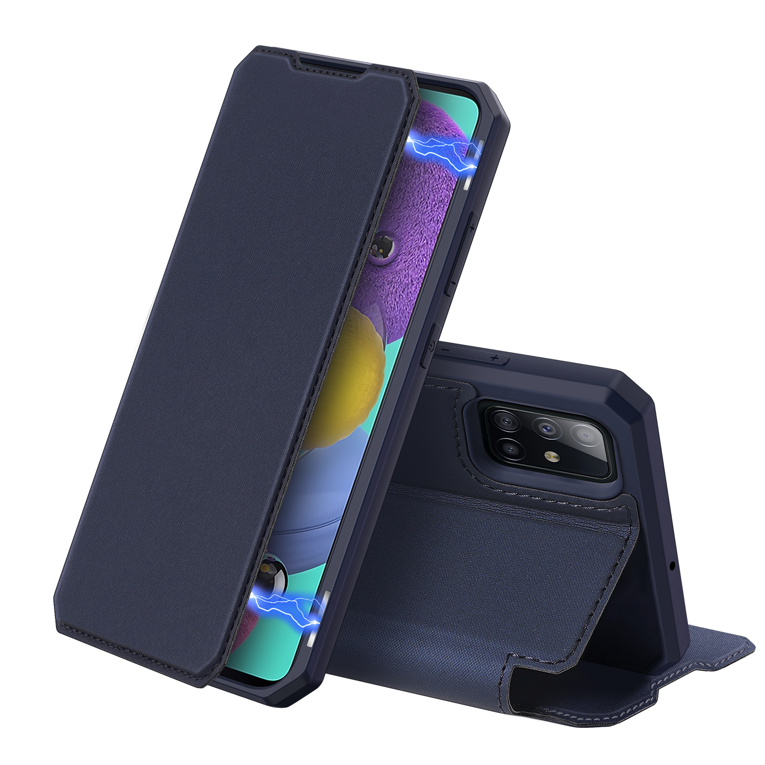 For Samsung A71 Magnetic Protective Case Bracket with Card Slot Leather Mobile Phone Cover blue