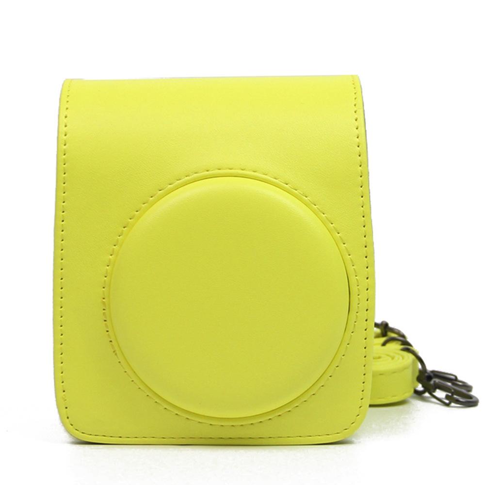 Retro Leather Camera Bag with Strap Soft Shoulder Bag for Fuji Polaroid Instax Mini70  yellow