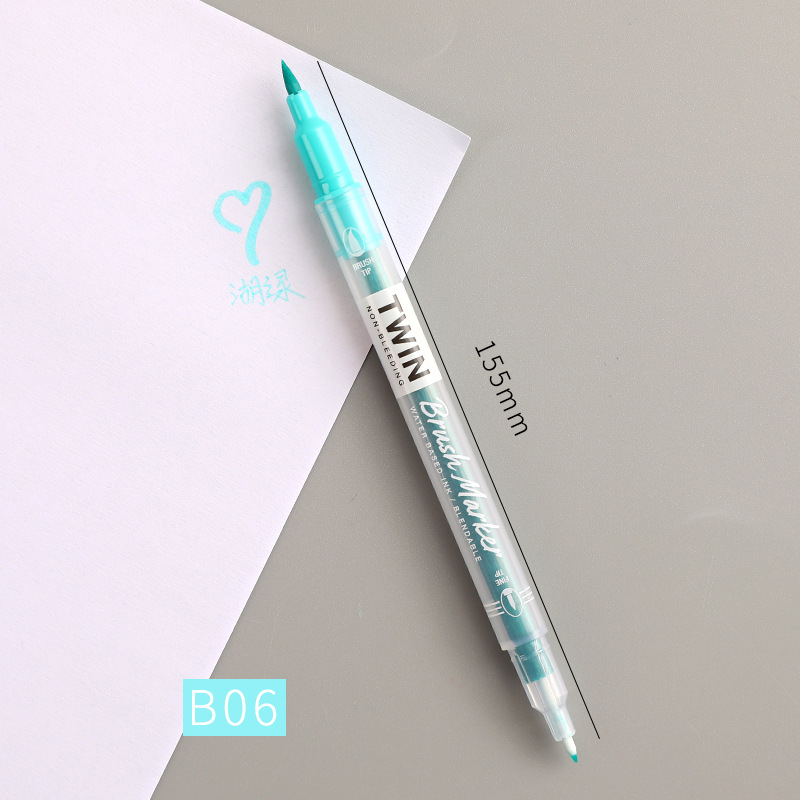 Double Head Marker Pen Multi Color Watercolor Water Based Hand Account Painting Pen Stationery Office Stationery B06 lake green_15cm