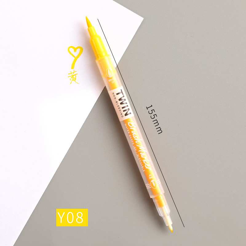 Double Head Marker Pen Multi Color Watercolor Water Based Hand Account Painting Pen Stationery Office Stationery Y08 yellow_15cm