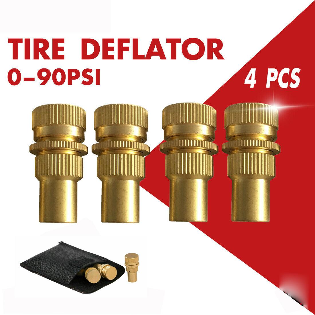 4pcs Brass Tire Deflators Kit Adjustable Automatic Tyre Deflator 0-90psi 4pcs