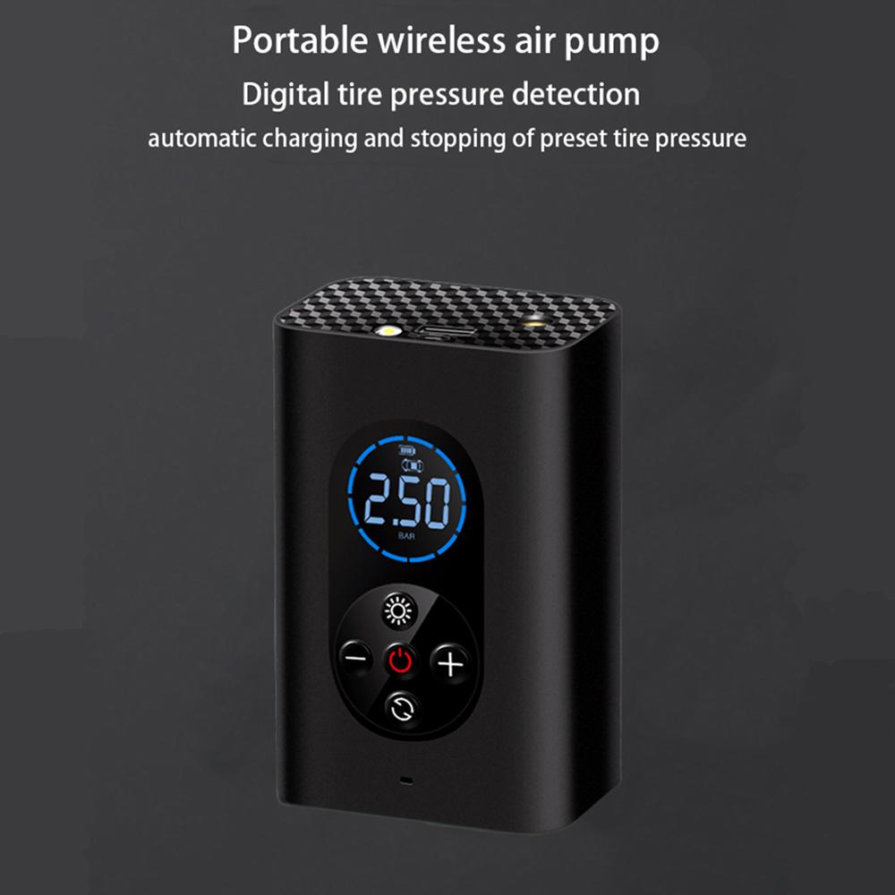 Car Air Pump Cordless Portable Vehicle Tire Inflator Smart Wireless Air Pump Tire Electric Air Pump black
