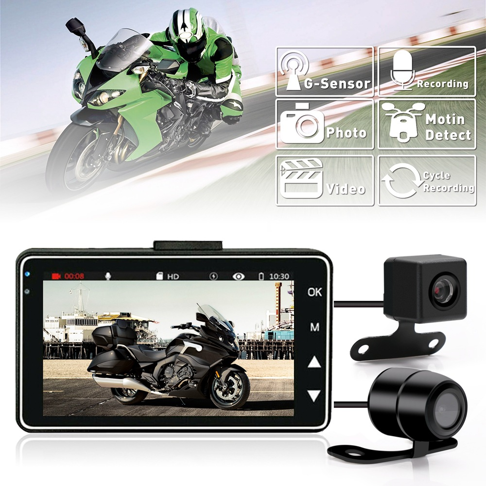 Motorcycle Carcorder Portable High Definition Abs 1080p Front Rear Dual Lens Motorcycle Dvr For Driving Boxed