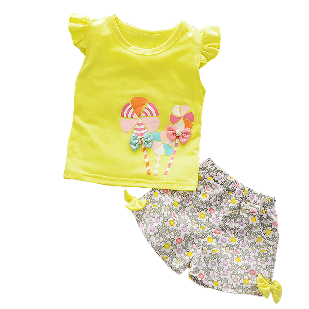 2 Pcs/set Girls Suit Cotton Windmill Printing Vest   Shorts for 0-3 Years Old Kids yellow_90cm