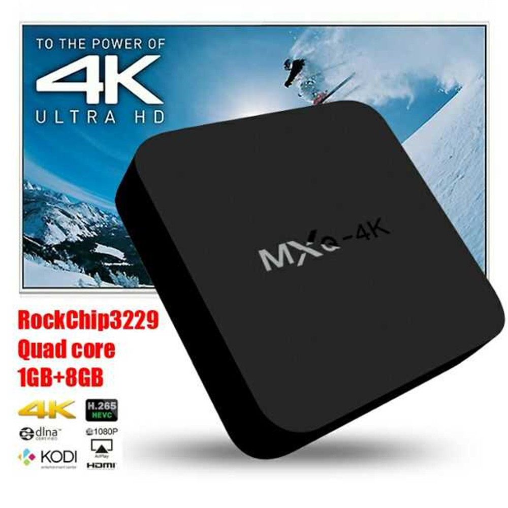 MXQ   Android TV BoxAndroid 7.1, Quad-Core, 4K Support, WiFi, Miracast, Google Play, TV