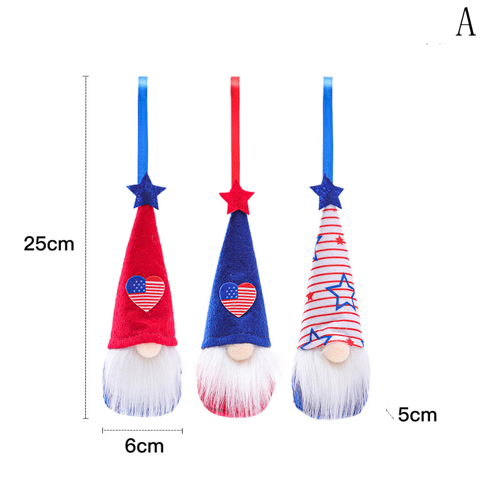 3pcs Fabric July Dwarfs Independence Day Hanging  Ornaments Set Decorations Handmade Plush Home Wall Decor a