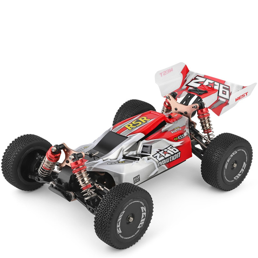 WLtoys 144001 RTR 2.4GHz RC 1/14 Scale Drift Racing Car 4WD Metal Chassis Shaft Ball Bearing Gear Hydraulic Shock Absober red with one battery