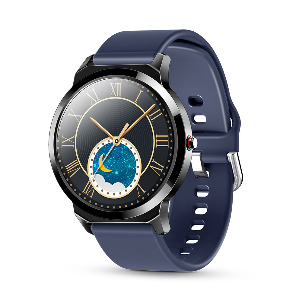Original LEMFO H6Pro Smart Watch 1.28 Inch Round Color Full-Screen Touch TFT HD IPS Smartwatch black dial + blue silicone band