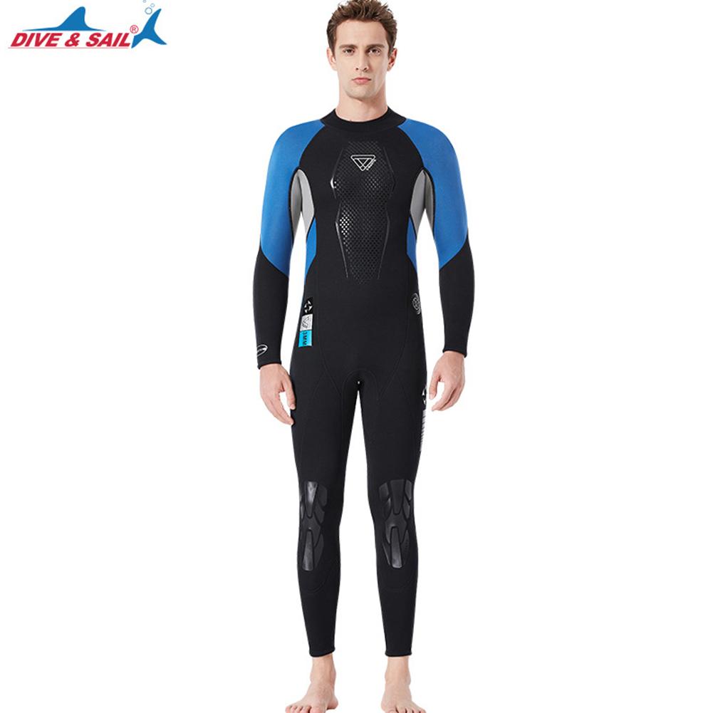 3mm Wetsuit Warm Neoprene Scuba Diving Spearfishing Surfing Long Sleeves Wetsuit Black blue_XXL