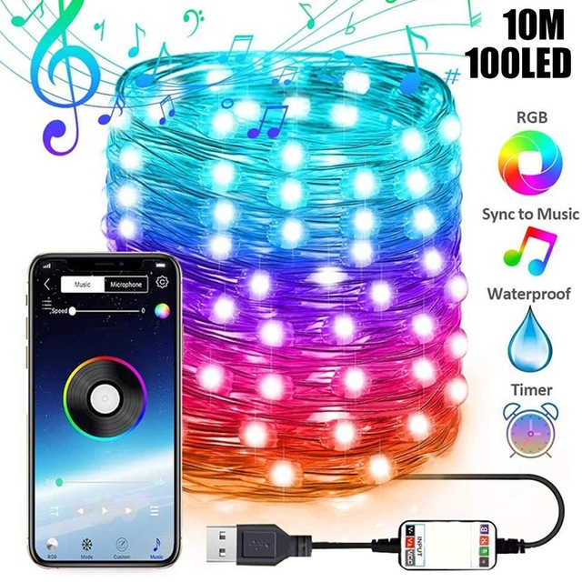 Copper Wire String Lights for Christmas Tree Decor App Remote Control USB Lighting String